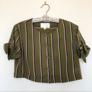 J.O.A Los Angeles LuLus Crop Top Blouse Striped XS